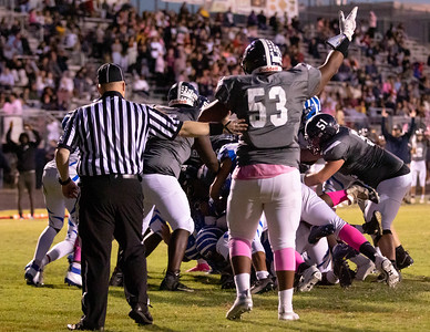 October 4, 2019 - In a big second half stand, the Blake High School defense keeps Magruder High School out of the endzone on three sucessive redzone runs. Blake would later come from behind for the 14-7 win. Photo by Mike Clark/The Montgomery Sentinel
