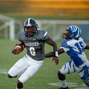 October 4, 2019 - Magruder's Jeremiah Baxter finds a whole and sparks a fourth quarter scoring drive. The lead did not last long as Blake scores with only seconds left. Photo by Mike Clark/The Montgomery Sentinel