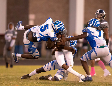 October 4, 2019 - Blake Bengal Linebacker Teddy Tiokeng Djengue flies in for the tackle of Magruder's Jeremiah Baxter. Photo by Mike Clark/The Montgomery Sentinel