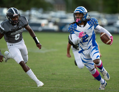October 4, 2019 - Blake Bengal's  Sabionn Adams finds running room in the Magruder Colonel's defense. Photo by Mike Clark/The Montgomery Sentinel