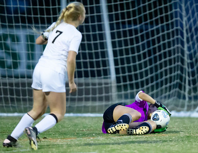 October 7, 2019 - Sydney Smith, Damascus Goalkeeper, stops this shot on goal by Poolesville Rachel Onderko. Photo by Mike Clark/The Montgomery Sentinel