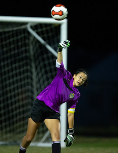 Otctober 7, 2019 - Sydney Smith clears out one of her many saves in the 1-0 win over Poolesville. Photo by Mike Clark/The Montgomery Sentinel