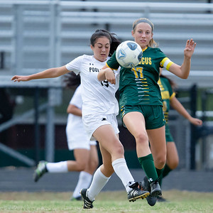October 7, 2019 - Penn Avery of Poolesville battles Maura Kane of Damascus for the ball in the tightly contested 1-0 win by host Damascus. Photo by Mike Clark/The Montgomery Sentinel