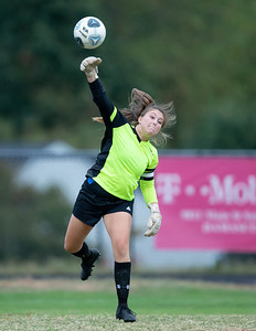 October 7, 2019 - Poolesville Goalkeeper Rachel Tievy keeps focus on this clear-out. Tievy stopped all of the Damascus shots on goal except the game winner. Photo by Mike Clark/The Montgomery Sentinel