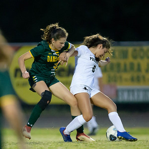 October 7, 2019 - Poolesville and Damascus battled all night for the 1-0 host Damascus win. Here Poolesville's Nicole Guzman and Damascus' Diana Clay go for the ball. Photo by Mike Clark/The Montgomery Sentinel
