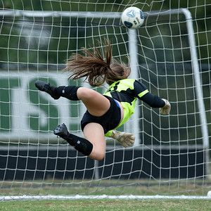 October 7, 2019 - This perfect shot by Damascus Midfielder Chloe Wilson is just out of the reach of Poolesville Goalkeeper Rachel Tievy. Wilson's shot would prove the game winner at Damascus High School. Photo by Mike Clark/The Montgomery Sentinel
