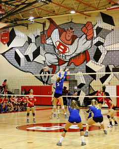 George P. Smith/The Montgomery Sentinel    The Blazer looms large as the Sherwood Warriors take on Blair on ther home court.