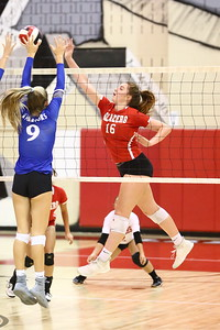 George P. Smith/The Montgomery Sentinel    Blair's Olivia Freer (16) gets the ball past Sherwood's Grace Aceto (9).