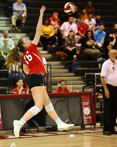 George P. Smith/The Montgomery Sentinel    Blair's Olivia Freer (16) with the kill agaist Sherwood.