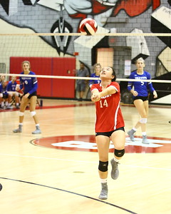 George P. Smith/The Montgomery Sentinel    Blair's Celine Wu (14) chases down a ball against Sherwood.