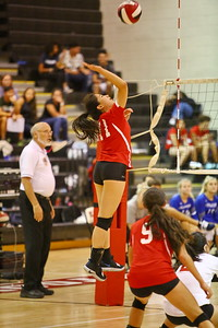 George P. Smith/The Montgomery Sentinel    Blair's Lucinda Zhou (11) with the kill from the corner.
