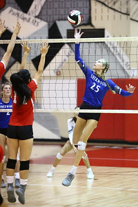 George P. Smith/The Montgomery Sentinel    Sherwood's Sophie Kluska (25) taps one across the net against Blair.