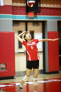 George P. Smith/The Montgomery Sentinel    Blair's Katherine Lei (6) serving against Sherwood.