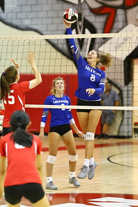 George P. Smith/The Montgomery Sentinel    Sherwood's Gwen Eustace (8) send one cross court against Blair.