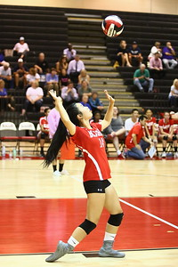 George P. Smith/The Montgomery Sentinel    Blair's Celine Wu (14) serving against Sherwood.