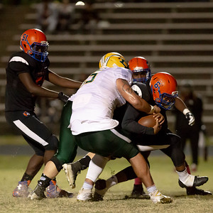 October 11, 2019 - Top national recruit Brian Bresee of Damascus sacks  Watkins Mill Quarterback Kyle Wingate for a loss on the play. Bresee and many other Damascus starters sat out the second half with a 35-0 lead. Photo by Mike Clark/The Montgomery Sentinel