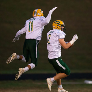 October 11, 2019 - Isiah Bell (11) flies in to congratulate Timmy Furgeson on his first half touchdown run - the beginning of the 49-14 domination of Watkins Mill. Photo by Mike Clark/The Montgomery Sentinel