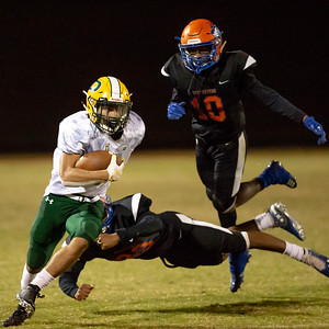October 11, 2019 - Chris Shaw of Damascus picks his way through the Watkins Mill secondary for the first down. The Hornets running and passing dominated the Wovernine defense all game. Photo by Mike Clark/The Montgomery Sentinel