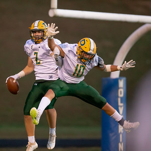October 11, 2019 - Malek Sabri (10) helps Timmy Furgeson (2) celebrate this first half touchdown run against home team Watkins Mill. Photo by Mike Clark/The Montgomery Sentinel