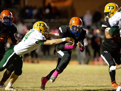 October 11, 2019 - Nehemiah Gross of Watkins Mill breaks through the Damascus line but does not make it far before Linebacker Sam O'Brien gets the tackle. Photo by Mike Clark/The Montgomery Senintel