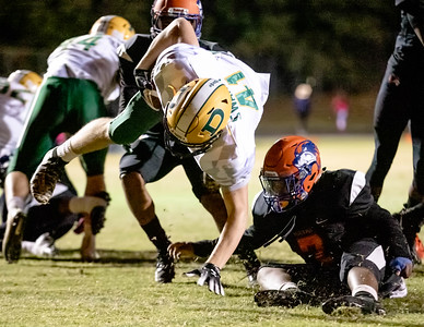 October 11, 2019 - Dillon Dunathan of Damascus dives for more yardage late in the game against Watkins Mill. Photo by Mike Clark/The Montgomery Sentinel