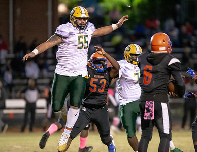 October 11, 2019 - Top national recruit Brian Bresee of Damascus dismisses the Watkins Mill blockers to disrupt this play and help the Hornets build a 35-0 halftime lead. Photo by Mike Clark/The Montgomery Sentinel