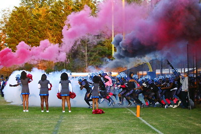 George P. Smith/The Montgomery Sentinel    The Blake varsity football team taking the field against visiting Paint Branch on Friday, October 11, 2019.