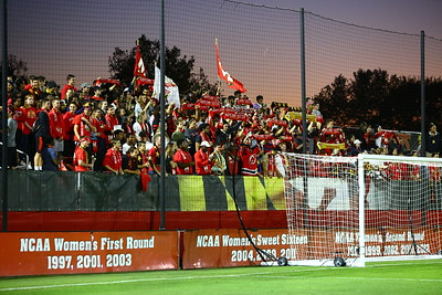 George P. Smith/The Montgomery Sentinel    Maryland fans behind the Georgetown net at Ludwig Field.