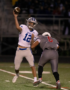October 18, 2019 - Sherwood Quarterback Sean Yamada unloads this pass just in time and leads his Warriors to a 41-0 win over host Einstein. Photo by Mike Clark/The Montgomery Sentinel