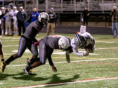 October 18, 2019 - Jalen Clyatt dives for the endzone for one of Sherwood's six touchdowns against Einstein. Photo by Mike Clark/The Montgomery Sentinel