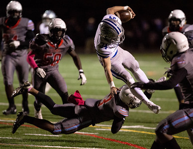 October 18, 2019 - Sherwood's Dylan Grant picks up more yards on the ground - breaking into the Einstein secondary.  Photo by Mike Clark/The Montgomery Sentinel