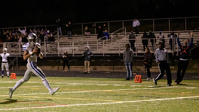 October 18, 2019 - Sherwood's Dylan Grant walks in for an easy score to help put away host Albert Einstein on their senior night. Sherwood racked up 41 unanswered points. Photo by Mike Clark/The Montgomery Sentinel