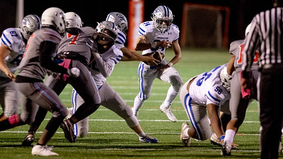 October 18, 2019 - The Sherwood offsensive line blow out the Einstein defense to make running room for Dylan Grant. Photo by Mike Clark/The Montgomery Sentinel