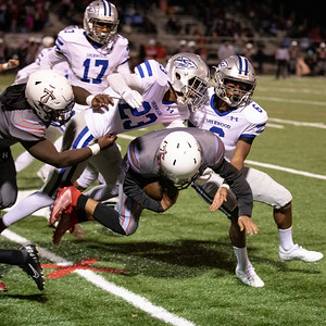 October 18, 2019 - The Sherwood defense shutout Einstein by gang tackling and hard hitting. Photo by Mike Clark/The Montgomery Sentinel
