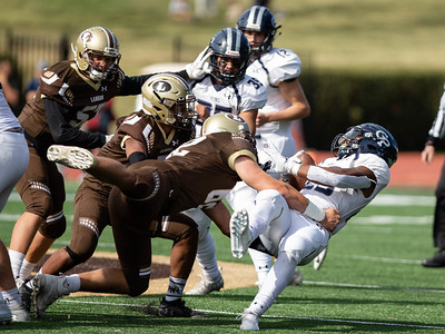 October 19, 2019 - Landon defenders get a rare opportunity to take down Georgetown Prep  Running Back Jalen Hampton for a loss. Hampton would finish with 263 yards on 35 carries in the 14-7 win over Landon.  Photo by Mike Clark/The Montgomery Sentinel