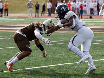 October 19, 2019 - Georgetown Prep  Running Back Jalen Hampton uses a stiff arm and shifty cuts against Landon to score both of Georgetown Prep's touchdowns. The Little Hoyas came back to bet their rival 14-7. Photo by Mike Clark/The Montgomery Sentinel