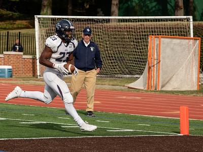 October 19, 2019 - Georgetown Prep's Jalen Hampton runs in the first of his two touchdowns. Hampton's two scores were all Georgetown Prep needed to beat rival Landon 14-7. Photo by Mike Clark/The Montgomery Sentinel