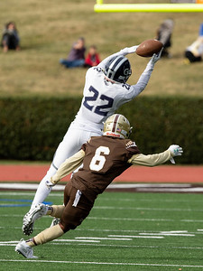 October 19, 2019 - Georgetown Prep Wide Receiver Isaiah West makes this grab for a first down against Landon defender Nick Wayland. Photo by Mike Clark/The Montgomery Sentinel