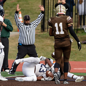 October 19, 2019 - With only 91 seconds left in the tied game, Georgetown Prep's Jalen Hampton crashes in for the winning touchdown. Photo by Mike Clark/The Montgomery Sentinel