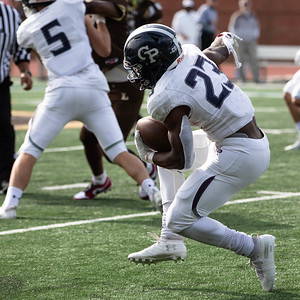 October 19, 2019 - Georgetown Prep Little Hoyas Running Back Jalen Hampton demonstrates his balance in a game where he racked up 263 yards and touchdowns against rival Landon. Photo by Mike Clark/The Montgomery Sentinel