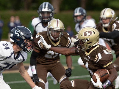 October 19, 2019 - Georgetwon Prep and Landon do battle in this heated rivalry. Here Tyler Smith goes head-to-head with Georgetown Prep's Michael Ridgway. Photo by Mike Clark/The Montgomery Sentinel