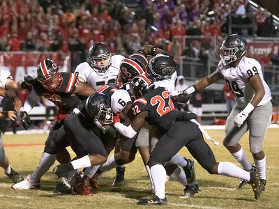 October 25, 2019 - The smothering Quince Orchard defense shuts down Ajahni Terry and the Northwest offense in the 17-7 QO win. Photo by Mike Clark/The Montgomery Sentinel
