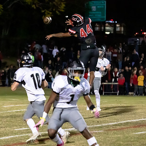 October 25, 2019 - Quince Orchard Linebacker Demeioun Robinson tries his best to break up this pass by Jordan Morse of Northwest. Photo by Mike Clark/The Montgomery Sentinel
