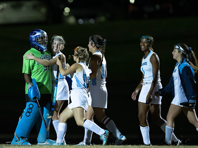 October 28, 2019 - The Clarksburg Coyote Goalie Zam Nwosu is congratulated by teammates as they head off to take on Quince Ochard for the 4A West championship. Photo by Mike Clark/The Montomery Sentinel