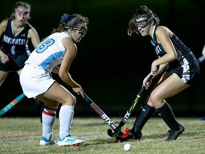 October 28, 2019 - In a hard fought match at Clarksburg High School, Coyote Emilee Towey gets the stop on Northwest's Julianne Stenbery. Photo by Mike Clark/The Montgomery Sentinel