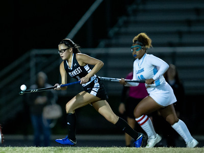 October 28, 2019 - Mikaela Chin of Northwest demonstrates her stick skills while leading a break into the Clarksburg zone. Photo by Mike Clark/The Montgomery Sentinel