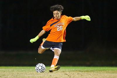George P. Smith/The Montgomery Sentinel    Rockville's sophomore goalie Juan Martinez (26).