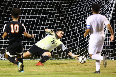 George P. Smith/The Montgomery Sentinel    Blake goalie Anthony Lucero (30) makes a save.