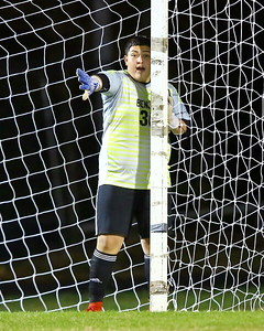 George P. Smith/The Montgomery Sentinel    Blake goalie Anthony Lucero (30) setting his blockers before a penalty kick.