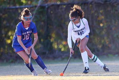 George P. Smith/The Montgomery Sentinel    Churchill's Lucia Alem (16) tries to push the ball up the field in the closing minutes of the game with Old Mill's Jade Kakum (16) in pursuit. Kakum scored the only goal in the game to help Old Mill advance in the playoffs.